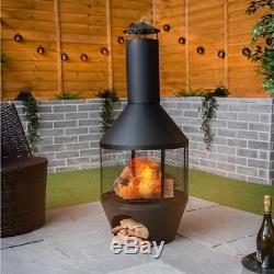 Chimenea Patio Jardin Bbq Chauffe Foyer Extérieur Chimnea Black Steel Log Magasin