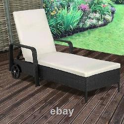 Cliquetis Day Bed Garden Furniture Outdoor Patio Inclinable Sun Lounger Black Brown