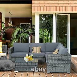 Corner Rattan Canapé Set De Meubles De Jardin Extérieur Patio L-shaped Grey W Coussins