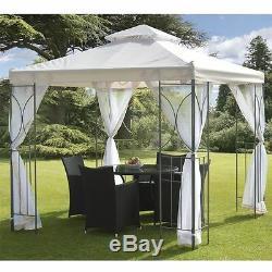 Crème 2.5m Jardin Gazebo Polenza Tente Patio Extérieur Ombre Sun Canopy Nets