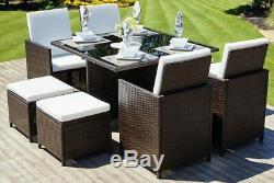 Cube En Rotin Meubles De Jardin Set Chaises Sofa Table Patio Extérieur En Osier 8 Seater