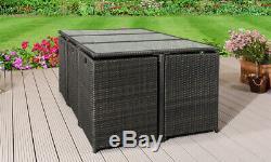 Cube Rotin Meuble De Jardin Canapé Chaise Table Patio Extérieur En Osier 10 Seater