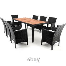 Deuba Poly Rattan Garden Meubles Salle À Manger Chaises De Table Ensemble Patio Extérieur 8 Sièges