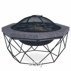 Diamant Stand Fire Pit & Bbq Grill Extérieur Jardin Radiateurs Uv Party Mesh Nouveau