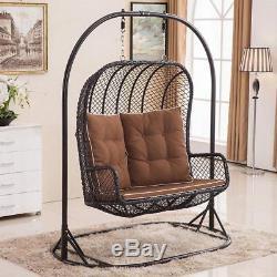 Double Egg Chair Balançoire Banc En Rotin Et Osier Hanging Garden Patio Intérieur / Extérieur