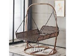 Double Egg Chair Swing Rattan Hanging Garden Patio Indoor/outdoor. Brown De Luxe