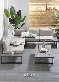 En Acier Extérieur Grand Coin Canapé 6 Seater Patio Set Garden Furniture Dinning Set