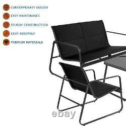 Ensemble De Meubles D'extérieur Mesh Noir 4 Pièces Canapé Table 2x Chaises Jardin Patio