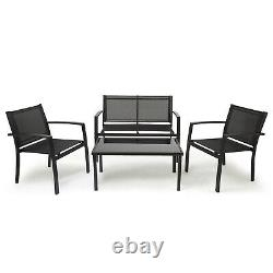 Ensemble De Meubles De Jardin 4 Pièces Canapé Chaises Table Rectangulaire Patio Extérieur Noir