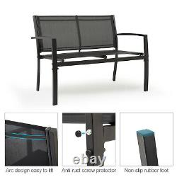 Ensemble De Meubles De Jardin 4 Seater Canapé Chaises Table Rectangulaire Patio Extérieur Noir