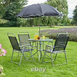 Ensemble De Meubles De Jardin 6pc Gris Extérieur 4 Sièges Table Ronde Et Parasol