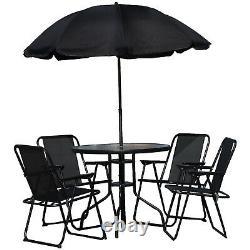 Ensemble De Meubles De Jardin 6pc Noir Extérieur 4 Sièges Table Ronde Et Parasol