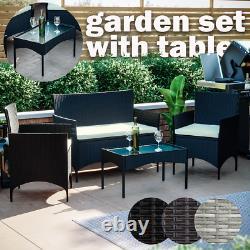 Ensemble De Meubles De Jardin De Rattan Chaises À 4 Pièces Canapé Table À Manger Extérieure Patio De Table