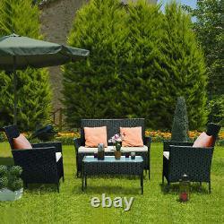 Ensemble De Meubles De Jardin De Rotin Ensemble 4 Chaises De Pièce Sofa Table Extérieur Patio Seater Ensemble