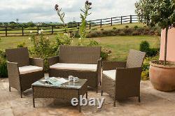 Ensemble De Meubles De Jardin De Rotin Ensemble 4 Chaises De Pièce Sofa Table Outdoor Patio Set