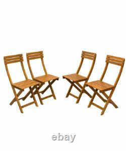 Ensemble De Meubles De Jardin En Bois 4 Seater À Manger Chaises De Table En Plein Air Patio En Bois Franc