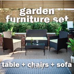 Ensemble De Meubles De Jardin Rattan 4 Pièces Chaises Canapé De Table Ensemble De Patio Extérieur Brun