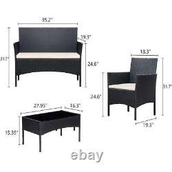 Ensemble De Meubles De Jardin Rattan 4 Pièces Chaises Canapé Table Extérieure Patio Seater Set