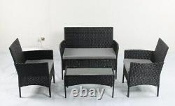 Ensemble De Meubles De Jardin Rattan 4 Pièces Chaises Canapé Table Patio Extérieur Set