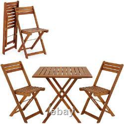 Ensemble De Meubles En Bois Balcon Patio Chaises De Table Pliantes Terrasse Jardin Extérieur