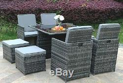 Eton Cube Rotin Meuble De Jardin Chaises Sofa Table Patio Extérieur 8 Places