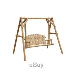 Extérieur 2 Jardin Terrasse En Bois Seater Balancelle Hamac Banc Chaise Avec Support