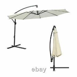 Extérieur 3m Grande Crème Parasol Jardin Patio Umbrella Canopy Shade Réglable