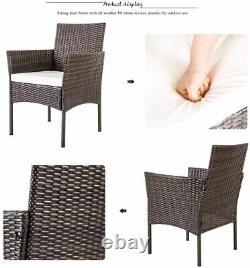Extérieur 4pcs Patio Ratten Garden Furniture Sofa Set Table + Chair + Cushion Uk