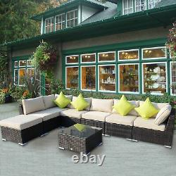 Extérieur 8pc Garden Rattan Corner Canapé Set Patio Meubles Wicker Outdoor Brown