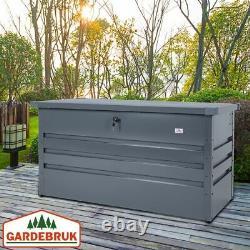 Extérieur Boîte De Rangement 360l De Jardin En Métal Verrouillables Utilitaire Coffre 120x62x63cm Patio