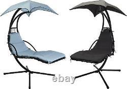 Extérieur Hélicoptère De Jardin Suspendu Balançoire Lounger Egg Chair Sun Blue/grey