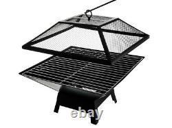 Fire Pit Firepit Brazier Square Stove Patio Heater W Bbq Grill Jardin Extérieur