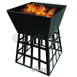Fire Pit Noir Bois Carré De Jardin Patio Heater Extérieur Table Bbq Camping Nouveau
