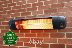 Firefly 2kw Electric Patio Heater Infrared Wall Outdoor Garden W Télécommande