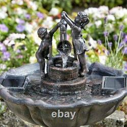 Fontaine D'eau Solar Garden Water Feature Outdoor Patio Ornament Statue Décor