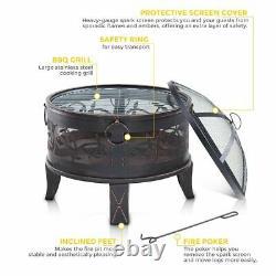 Foyer Extérieur Bbq Firepit Brazier Garden Table Stove Patio Heater Grill Poker