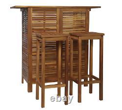 Garden Bar Set Chaises De Patio Extérieures Meubles À Manger En Bois 2 Tabourets Table De Billard