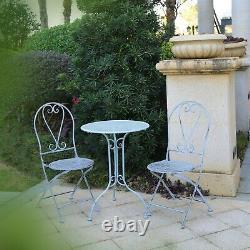 Glamhaus Metal Garden Bistro Set Patio 3 Pièces Chaises De Meubles D'extérieur Table