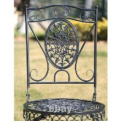 Glamhaus Metal Garden Bistro Set Patio Meubles Extérieurs Chaises De Table 3 Pièces