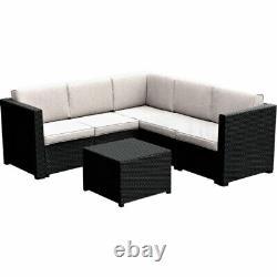 Graphite Rattan Corner Sofa Lounge Set With Table Outdoor Garden Patio Furniture