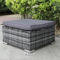 Gris Rattan Canapé Set Patio Jardin Extérieur Wicker 5 Seater Meubles Settee