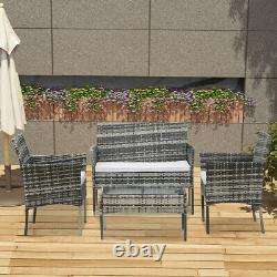 Gris Rotin Extérieur Meubles De Jardin Ensemble 4 Chaises Piece Sofa Table Ensemble De Patio