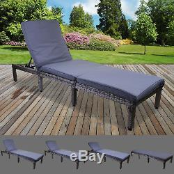 Gris Rotin Sun Lounger Extérieur Jardin Meubles De Terrasse Recliner Relaxer Day Bed