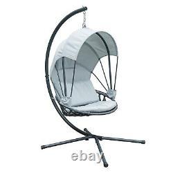 Jarder Luna Egg Chair Suspendu Swing Seat Patio Garden Outdoor Light Grey