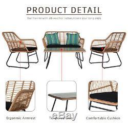 Jardin Bistro Meubles De Patio Ensemble Table Et Chaises En Rotin Intérieur Extérieur En Acier