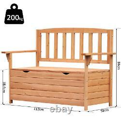 Jardin Extérieur De Stockage Banc Patio Box Tout Temps Deck Fir Wood Siège Solide