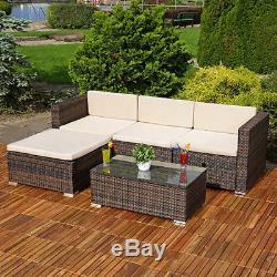 Jardin Meubles En Rotin Canapé D'angle Table Set Lounger Patio Extérieur Conservatoire