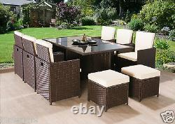 Jardin Meubles En Rotin Cube Set Chaises Sofa Table Patio Extérieur