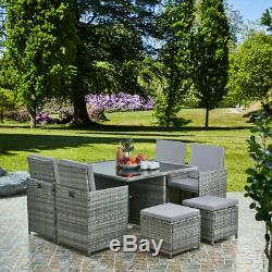 Jardin Meubles En Rotin Cube Set Chaises Sofa Table Patio Extérieur En Rotin Noir