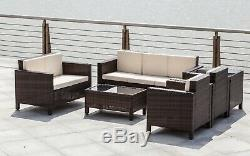 Jardin Meubles En Rotin Lounge Set Noir Brun Extérieur Chaise Canapé D'angle Patio